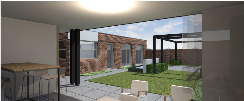 Moderne Tuin Met Overkapping Braamhaar Ankone