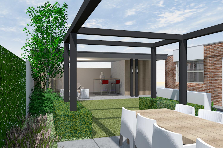 Moderne tuin met overkapping braamhaar ankon 1 for Moderne tuin met overkapping